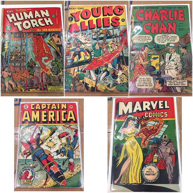 Some nice golden age comics came in today!  #timelycomics #captainamerica #captainamericacomics #humantorch #youngallies #marvelmysterycomics #charliechan #schomberg #wwii #classiccomiccovers #goldenagecomics