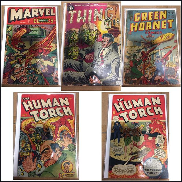Some nice #timelycomics and other #goldenagecomics we picked up!  #marvelmysterycomics #humantorch #greenhornet #igcomicfamily #igcomics