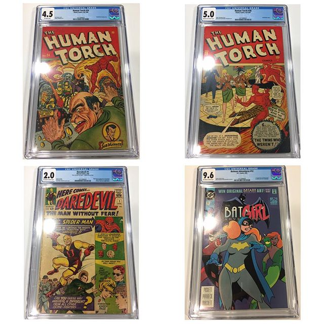 Just in from #cgc #humantorch 24 & 28 #daredevil #batmanadventures12 #igcomicfamily #igcomics #harleyquinn #goldenagecomics #timelycomics