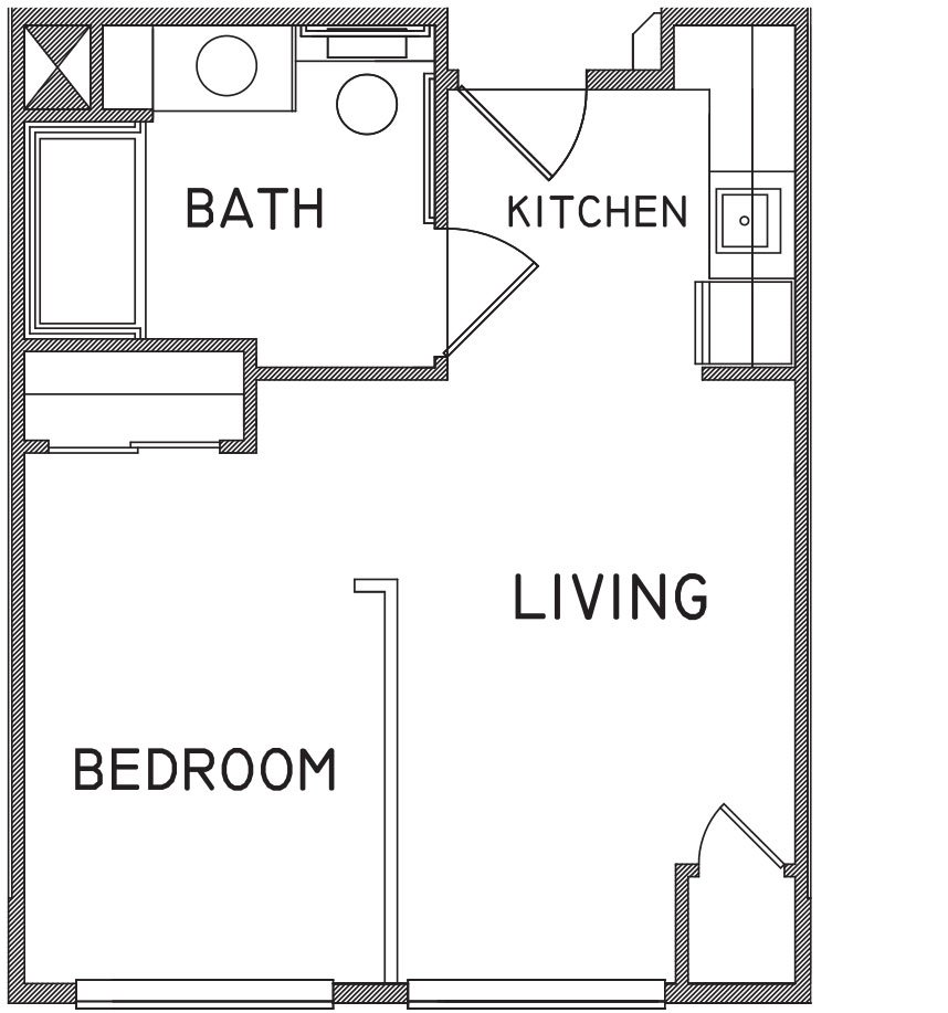 Small studio apartment floor plans for Studio apartments plans
