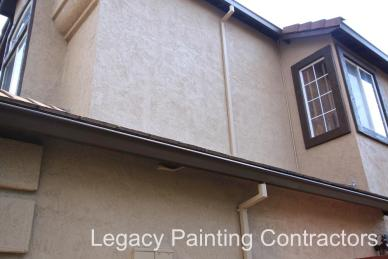 Rain gutters painted to blend in with wall color