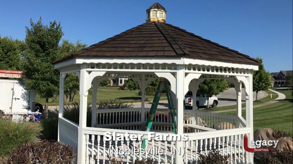 Commercial Gazebo Fence Staining Painting - Noblesville