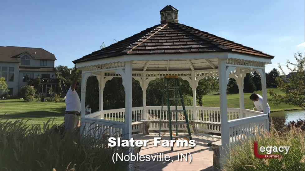 Commercial Gazebo Fence Staining Painting - Noblesville 2