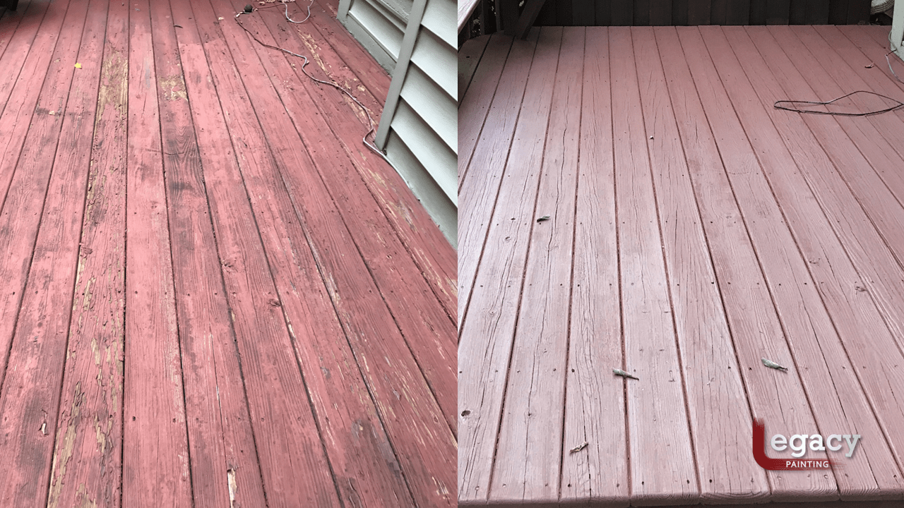 deck restaining before and after