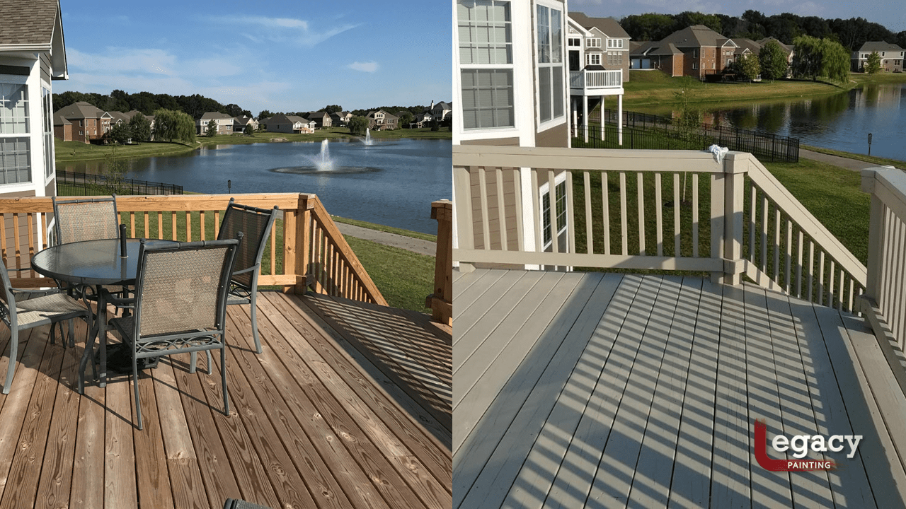 deck staining before and after - solid color grey