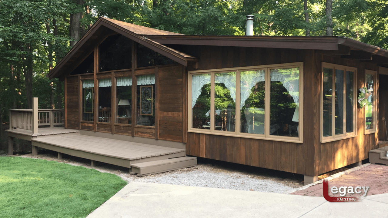 redwood log home and deck staining