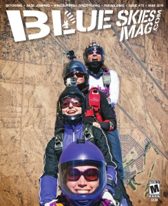 Blue Skies Magazine i75: March 2016   Front to back: Shonda Smith, Eiméar McGovern, Sara Curtis and Nancy Koreen exit above Skydive Arizona during the SIS in the City boogie. Photo by David Cherry.   Blueskiesmag.com