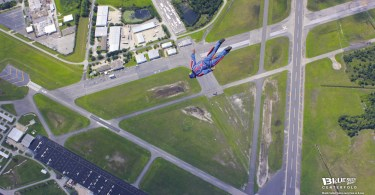 Blue Skies Magazine i75: March 2016 Centerfold | Martin Sutton tracks away from an 8-way fun jump with Team Group Therapy above Skydive DeLand, Florida. Photo by Michael Anderson. | blueskiesmag.com