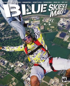 """Blue Skies Magazine i93: September 2017   On the cover: Jeremy Dubansky hangs out above Chicagoland Skydiving Center in Rochelle, Illinois, during their annual Independence Day Boogie. Photo by Mark """"Trunk"""" Kirschenbaum • gethypoxic.com   https://blueskiesmag.com/project/i93-september-2017/"""