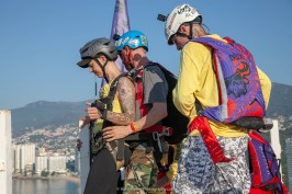 Avery gets ready to Pilot Chute Assist Tandem BASE - Team ILL Vision hosts the Acapulco BASE Boogie off the La Palapa hotel - Promoting tourism through Low Altitude Parachute Deployment Demonstration Jumping - Harry Parker Photography - Reflecting the best of your business, product, self.