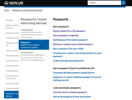 urgent passport from the official gov.uk website