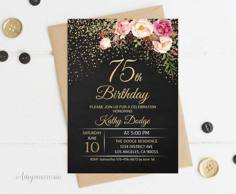 22 free 75th birthday card template