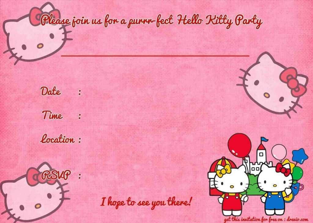 36 visiting hello kitty invitation card