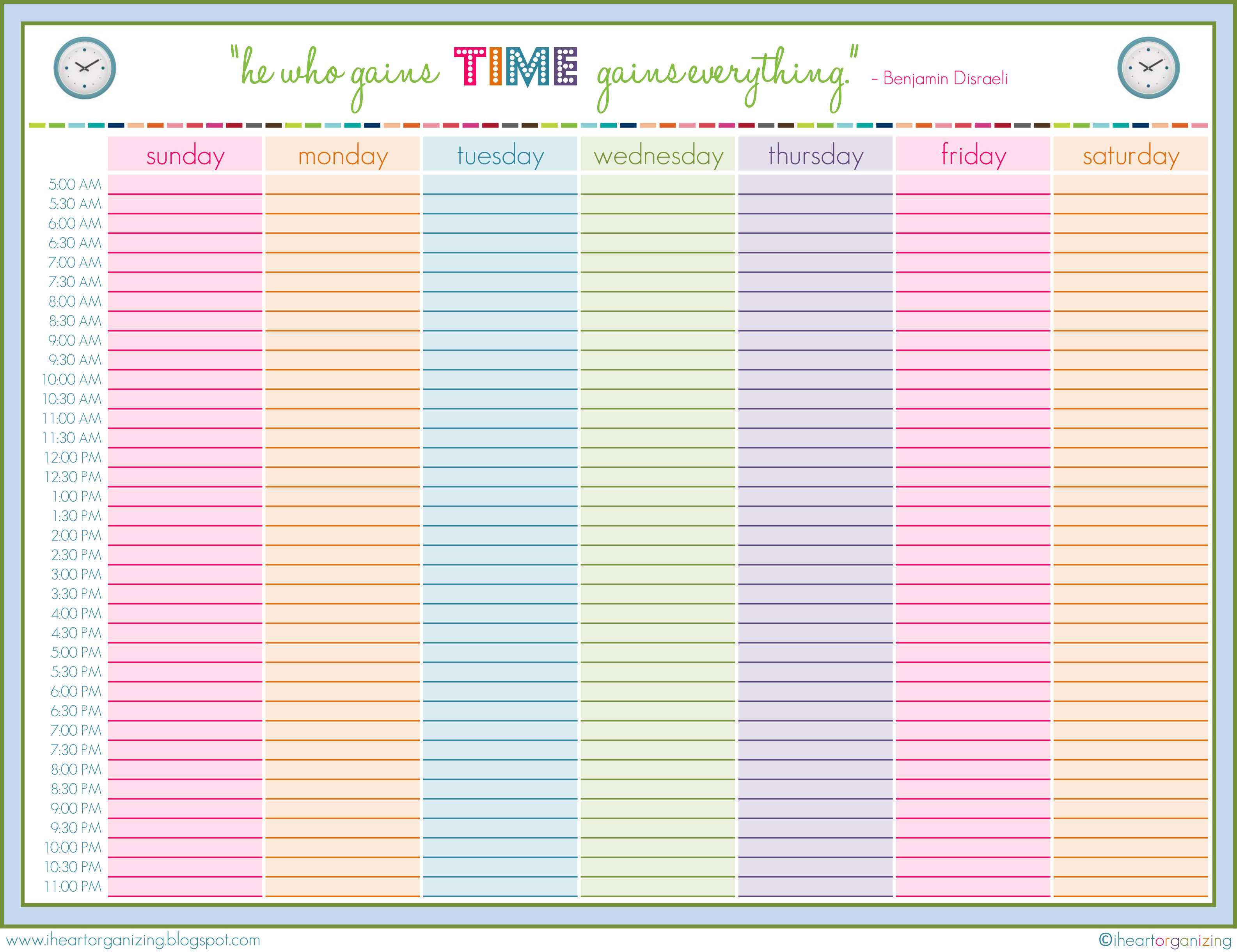 71 Customize Weekly Class Schedule Template In