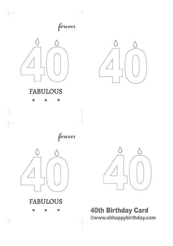 40th Birthday Cards Free Printable : birthday, cards, printable, Printable, Birthday, Template, Stunning, Design, Cards, Templates