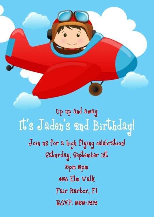 17 blank airplane birthday invitation