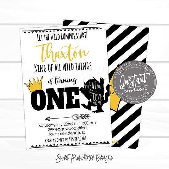 wild one birthday invitation template
