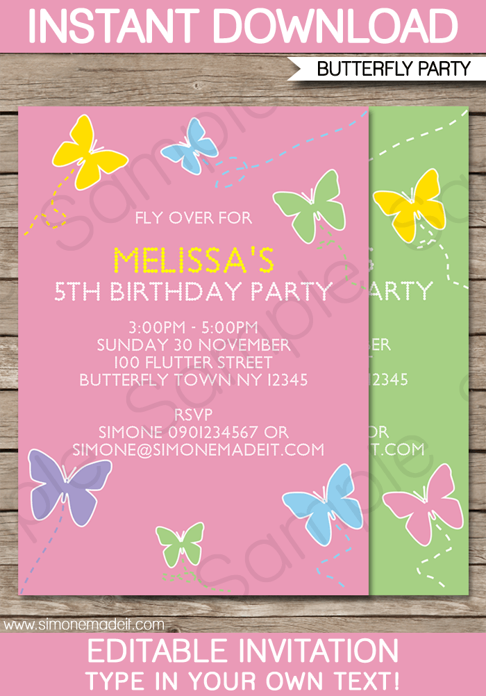 Butterfly Invitations Templates Free : butterfly, invitations, templates, Editable, Party, Invitation, Template, Download, Cards, Design, Templates