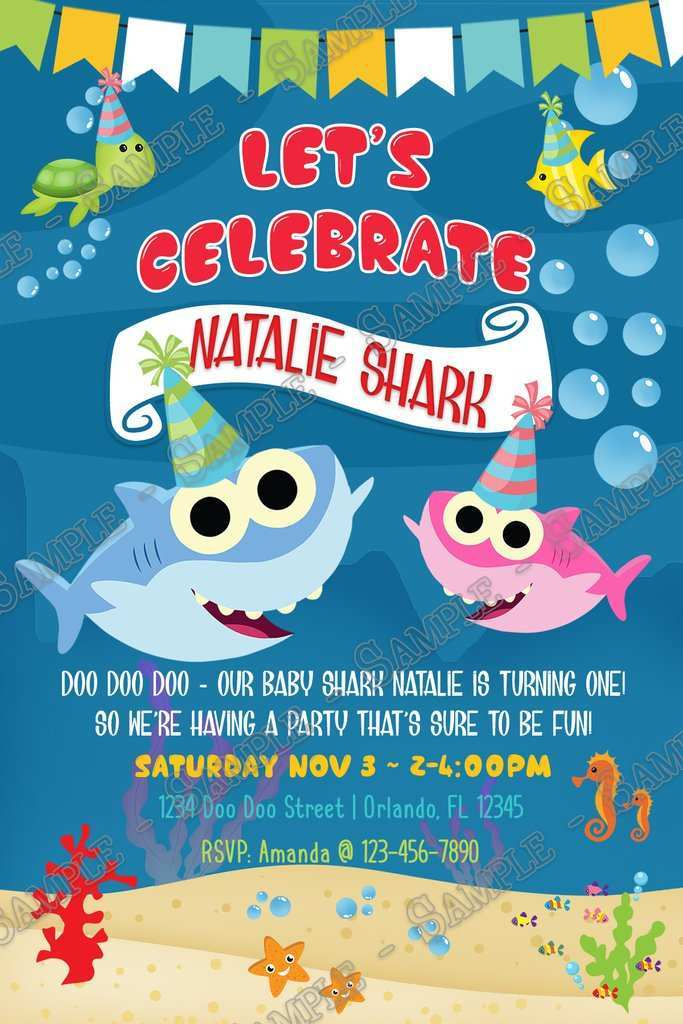 45 blank baby shark birthday invitation