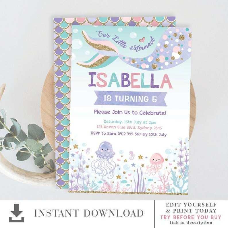 the sea birthday invitation template