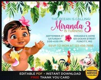 baby moana birthday invitation template