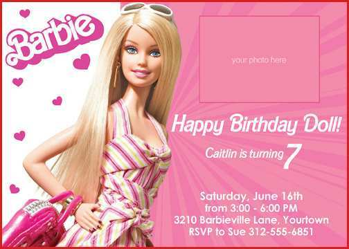 72 visiting birthday invitation barbie