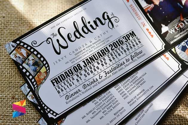movie ticket wedding invitations