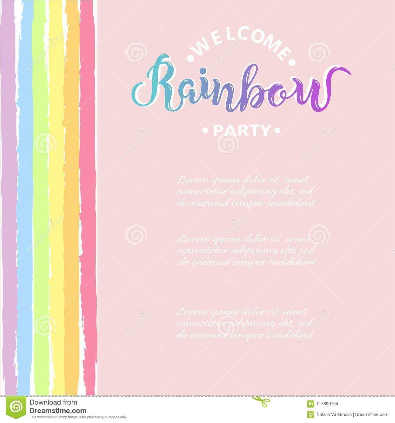 birthday invitation template rainbow