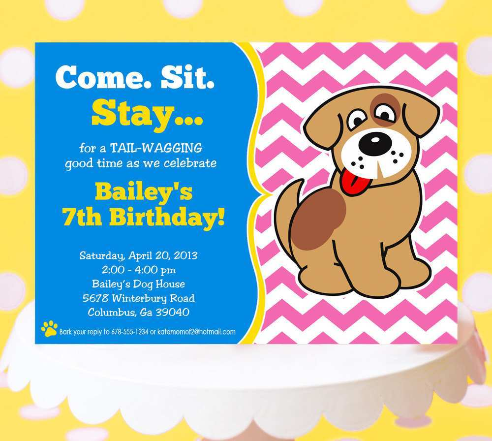 81 report dog party invitation template