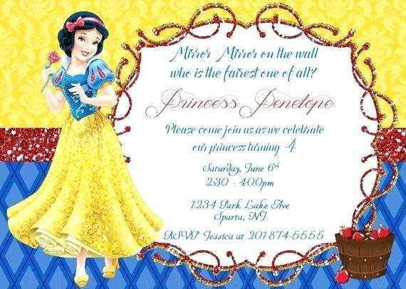 snow white birthday invitation template