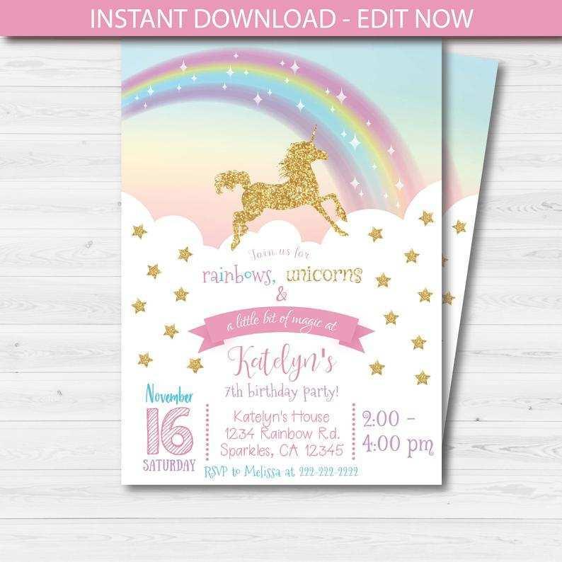 95 best unicorn 7th birthday invitation