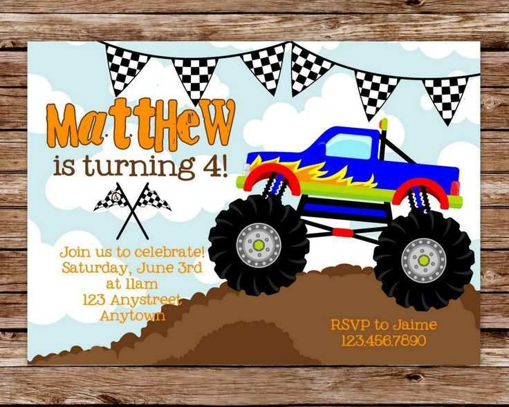 98 best monster jam birthday invitation