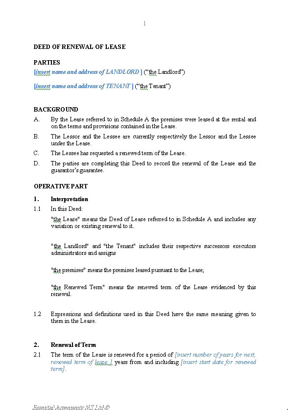 Business  Leasing  New Zealand Legal Documents agreements forms and contract templates