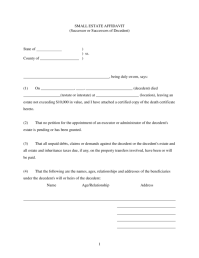 2017 Small Affidavit Estate Form For Illinois Download Pdf ...
