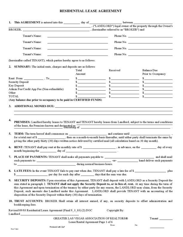 Rental Agreement Template Nevada Resume Pdf Download