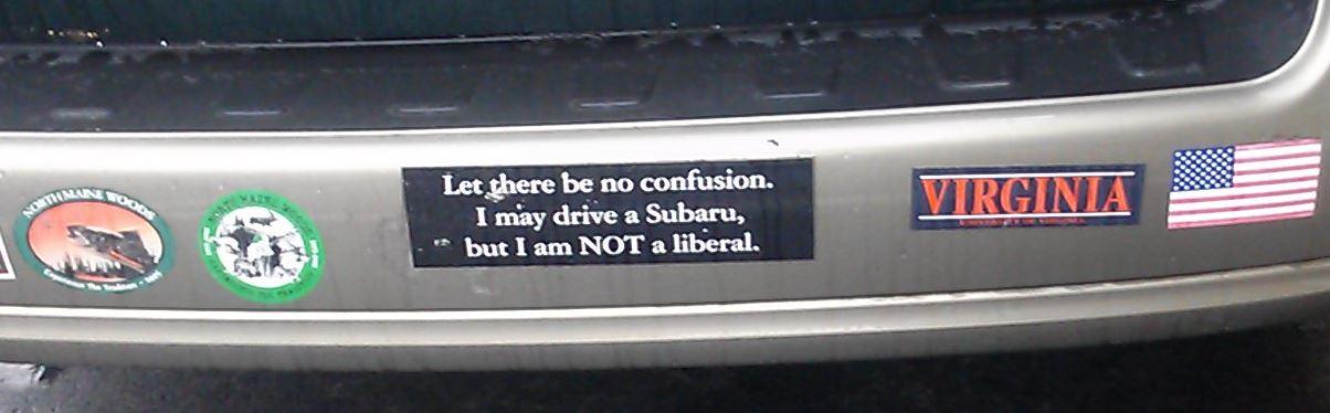 bumper sticker subaru liberal