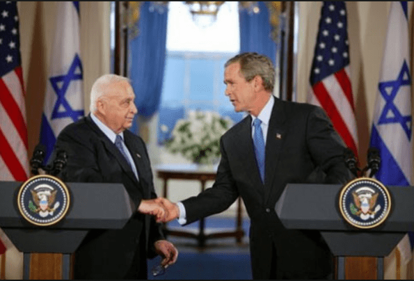 Image result for PHOTO OF ISRAELI PRES. SHARON AND PRESIDENT BUSH