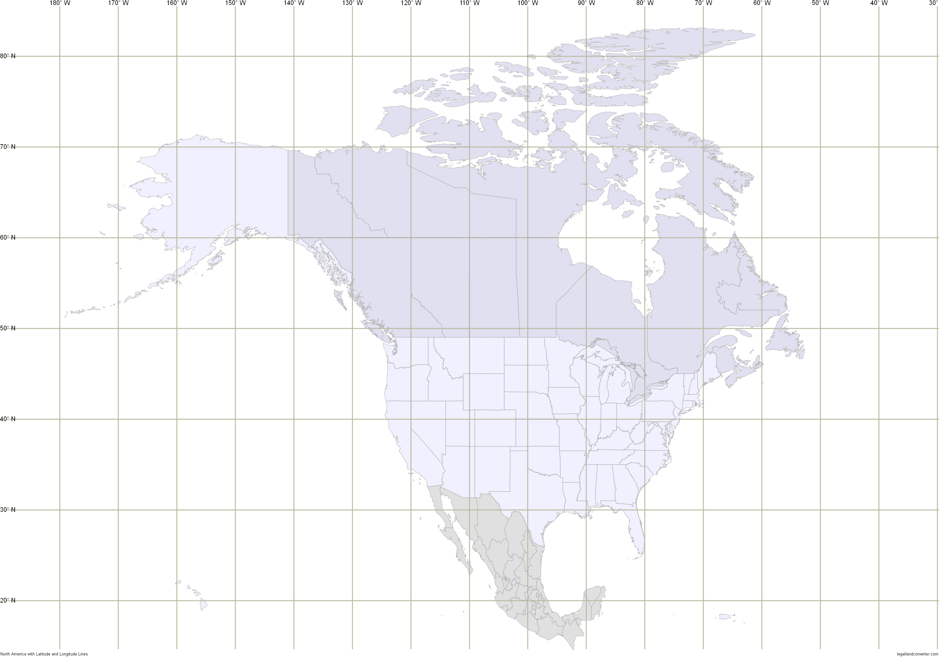 North America Map With Latitude And Longitude Lines