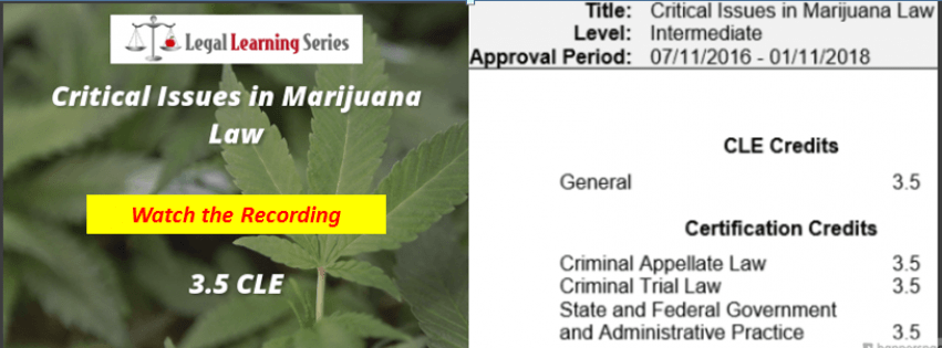 Critical Issues in Marijuana Law