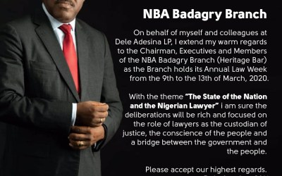 Dele Adesina SAN felicitates with NBA Badagry Branch on the occasion of its Annual Law Week