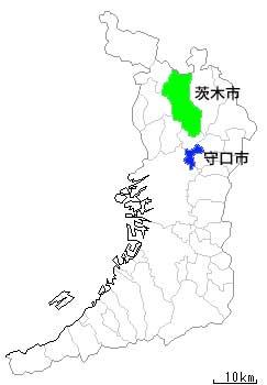 守口市と茨木市の位置図