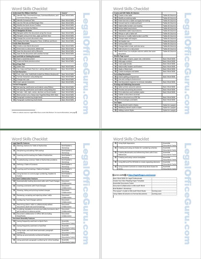 Microsoft Word Checklist : microsoft, checklist, Basic, Skills, Checklist, Legal, Office