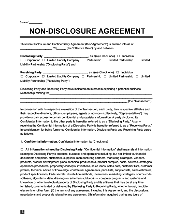 Non Disclosure Agreement Template Create A Free NDA Form