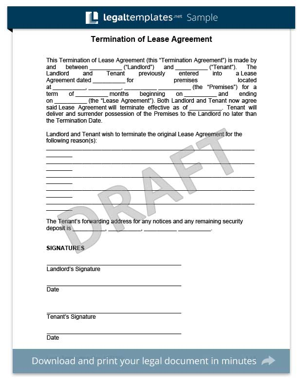 Sample Early Lease Termination Letter To Tenant | Docoments Ojazlink