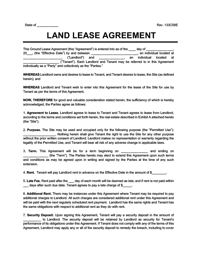 Ground Lease Agreement Print & Download Legal Templates