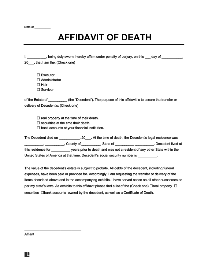 Bank Account Closing Letter Format After Death : account, closing, letter, format, after, death, Affidavit, Death, Create, Template