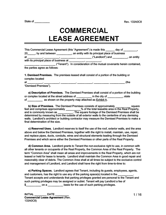 Property within fourteen (14) days of notification to do so by the landlord. Free Commercial Lease Agreement Template How To Write It Legal Templates