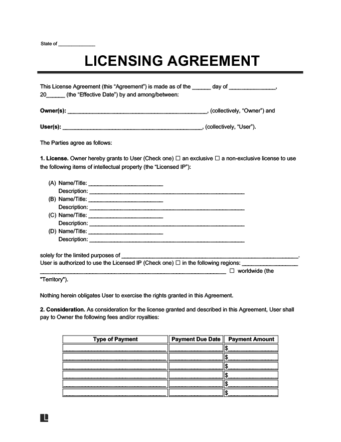 Can take one of two basic form: Licensing Agreement Template Create A Free License Agreement