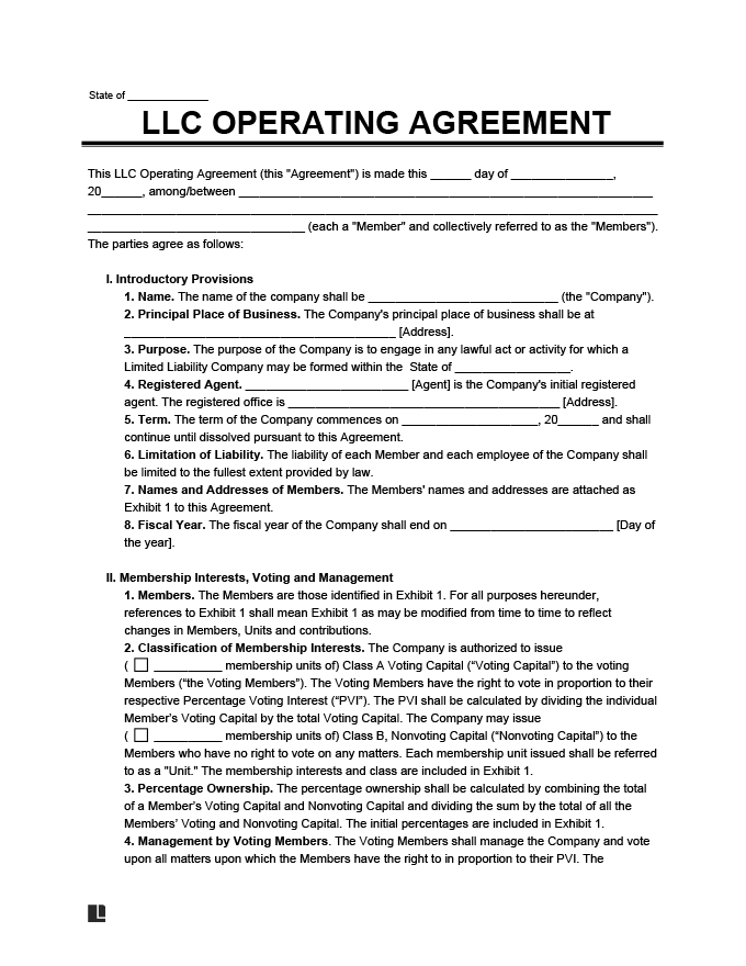 An llc operating agreement, also known as an operating agreement or llc agreement, is: Llc Operating Agreement Free Llc Operating Agreement Template