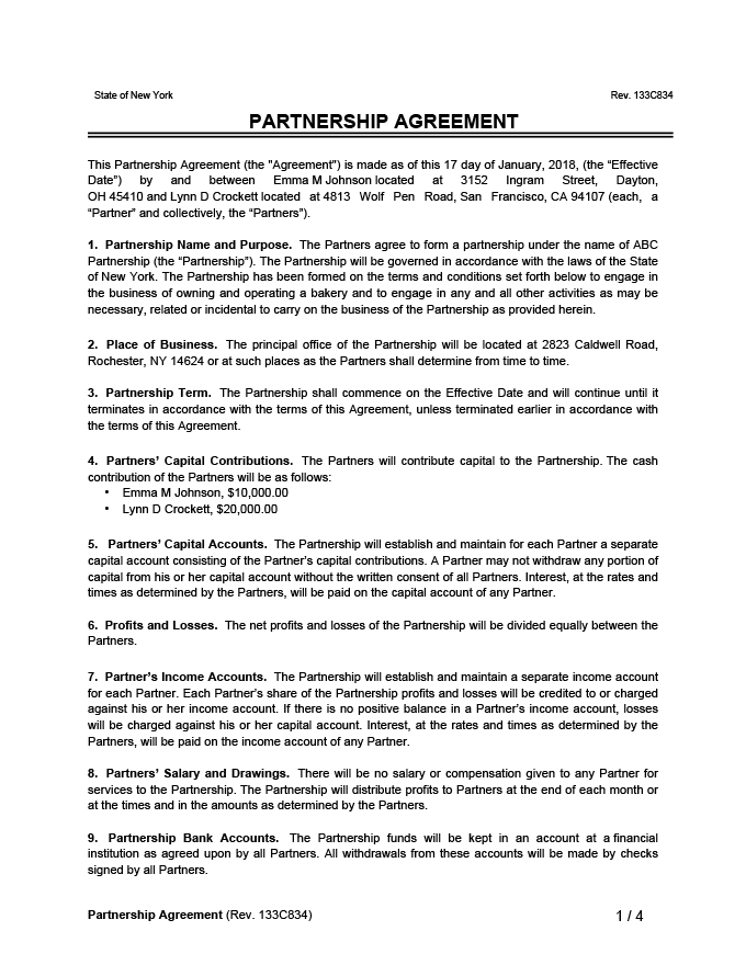 A partnership is a business formed with two or more people as owners. Free Partnership Agreement Template Create A Partnership Agreement